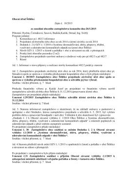 Obecní úřad Štíhlice Zápis č. 10/2015 ze zasedání obecního