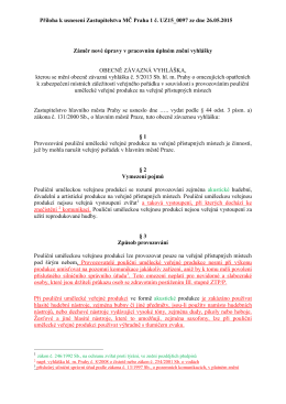 Příloha k usnesení Zastupitelstva MČ Praha 1 č. UZ15_0097 ze dne