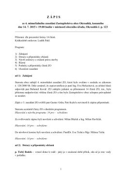 Zápis z 4. zasedání Zastupitelstva obce Okrouhlá