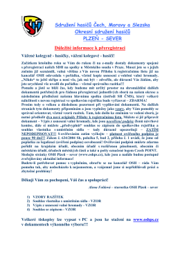 Důležité informace k přeregistraci sborů - OSH Plzeň