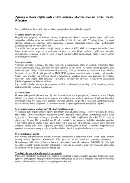 Zpráva o stavu zajištěnosti civilní ochrany obyvatelstva
