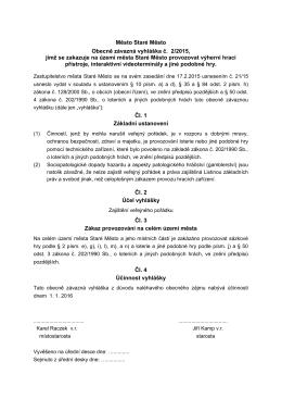 Obecně závazná vyhláška č. 2/2015, jíž se zakazuje