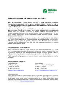Alphega lékárny radí, jak správně užívat antibiotika