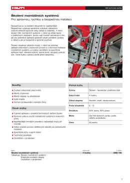 Školení montážních systémů Pro správnou, rychlou a