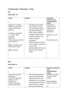 Tematický plán – Český jazyk – 3. třída