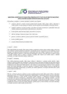 kritéria hodnocení zkoušek profilové části maturitní zkoušky
