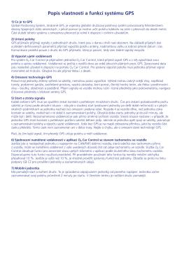 Popis vlastností a funkcí systému GPS
