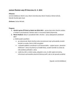 Jednání Školské rady ZŠ Polná dne 21. 9. 2015