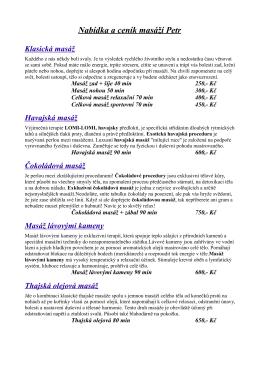 Nabídka a ceník masáží Petr Klasická masáž