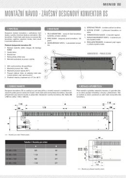 montážní návod - závěsný designový konvektor ds