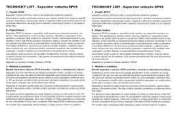 Technický list separátor SPVS