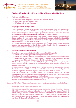 Technické podmínky užívání služby příjem a odesílání faxů