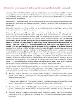 Informace o současném stavu kolem návrhu novelizace Směrnice