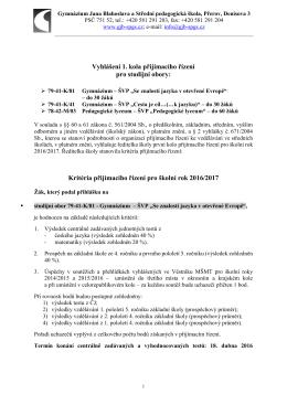 Vyhlášení 1. kola přijímacího řízení pro studijní obory
