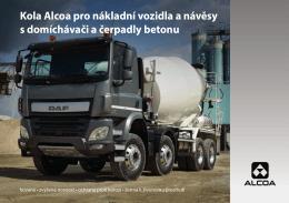 Kola Alcoa pro nákladní vozidla a návěsy s domíchávači a čerpadly
