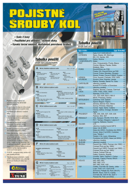 pojistné šrouby kol pojistné šrouby kol pojistné šrouby kol