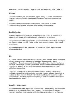 PRAVIDLA SOUTĚŽE YPEF V ČR pro MÍSTNÍ, REGIONÁLNÍ A
