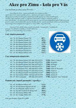 Akce pro Zimu - kola pro Vás