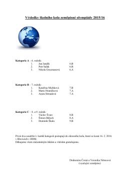 Výsledky školního kola zeměpisné olympiády 2014/15