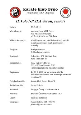 Karate klub Brno II. kolo NP JKA dorost, senioři
