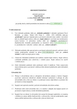 Úvodní ustanovení 1.3. Ustanovení obchodních podmínek jsou