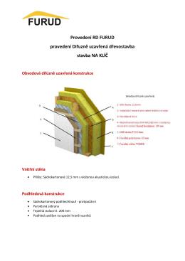 Provedení RD FURUD provedení Difuzně uzavřená dřevostavba