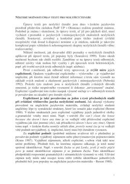 Úpravy textů pro neslyšící čtenáře jsou dnes v českém