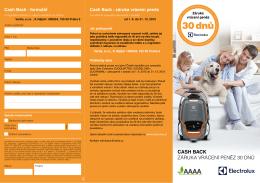 Formulář k uplatnění Cashback - záruky vrácení peněz