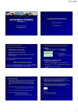EKONOMIKA PODNIKU - Ing. Jan TICHÝ, Ph.D.