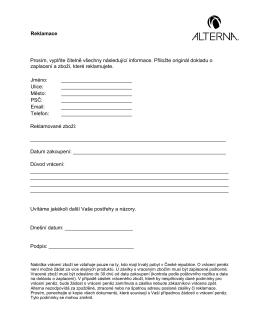 Stáhněte si formulář pro reklamaci