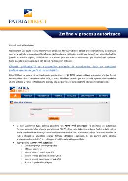 Změna v procesu autorizace