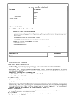 Protokol pro výměnu/vrácení ZDE KE STAŽENÍ