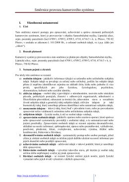 Směrnice provozu kamerového systému