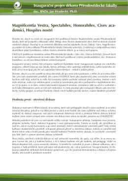 Inaugurační projev děkana doc. Jana Hradeckého