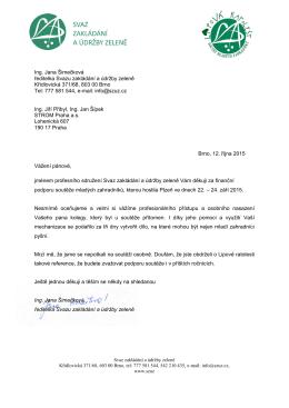 Ing. Jana Šimečková ředitelka Svazu zakládání a údržby zeleně