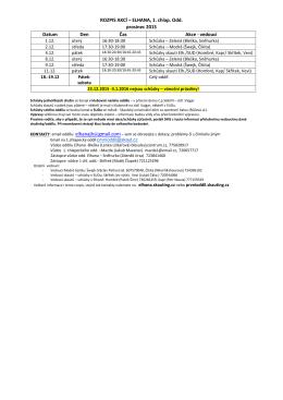 ROZPIS AKCÍ – ELHANA, 1. chlap. Odd. prosinec 2015 Datum Den