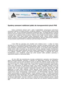 Systémy zamezení nalétávání ptáků do transparentních ploch PHS