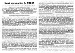 5. číslo zpravodaje NOVÝ JERUZALÉM 2015