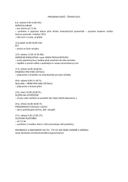 PROGRAM KURZŮ - ČERVEN 2015 6.6. sobota 9.30