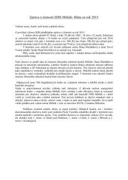 Zpráva o činnosti SDH Mělník