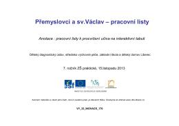 Přemyslovci a sv.Václav – pracovní listy