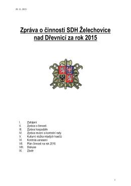 zpráva o činnosti sdh želechovice nad dřevnicí za rok 2015