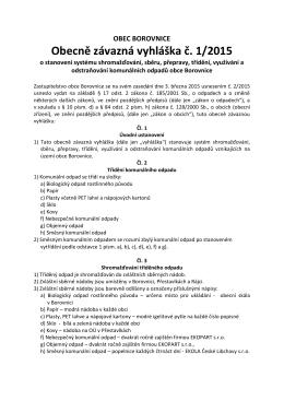 OBEC BOROVNICE Obecně závazná vyhláška č. 1/2015