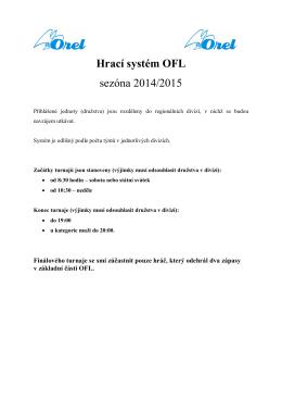 Hrací systém OFL sezóna 2014/2015