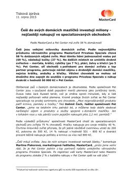 Tisková zpráva Češi do svých domácích mazlíčků