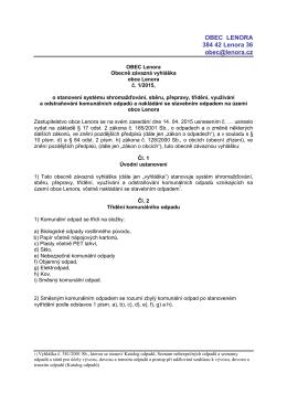 Obecně závazná vyhláška obce Lenora č. 1/2015, odpad