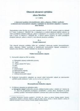 Obecně závazná vyhláška 1/2015 o nakládání s odpadem