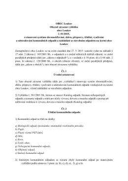 Obecně závazná vyhláška obce Loukov č. 01/2015, o stanovení