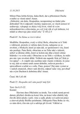 11.10. kázání P. Pokorného Díkčinění Gn 8,15-22
