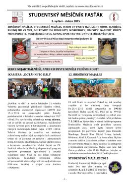 Studentský měsíčník FASŤÁK - Studentská komora AS FAST